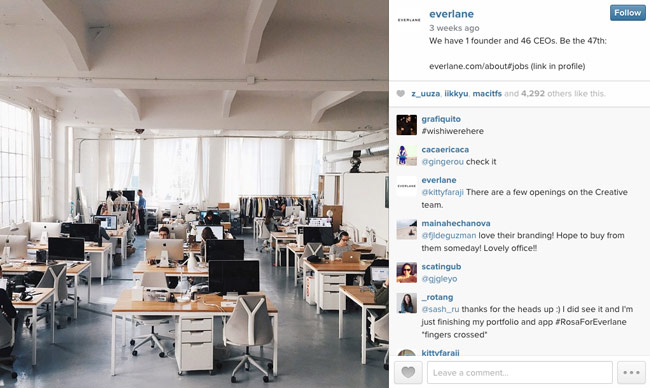 Screenshot from Everlane's Instagram account. Photo is of their office, which has an open floor plan, high ceilings, rows of desks, and lots of natural light.