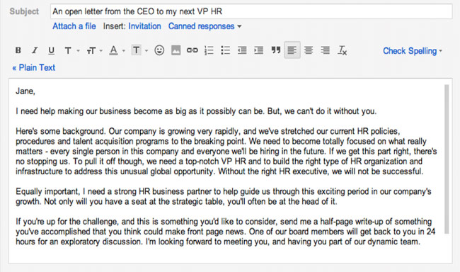 recruiter email to candidate sample - Maddenrecall
