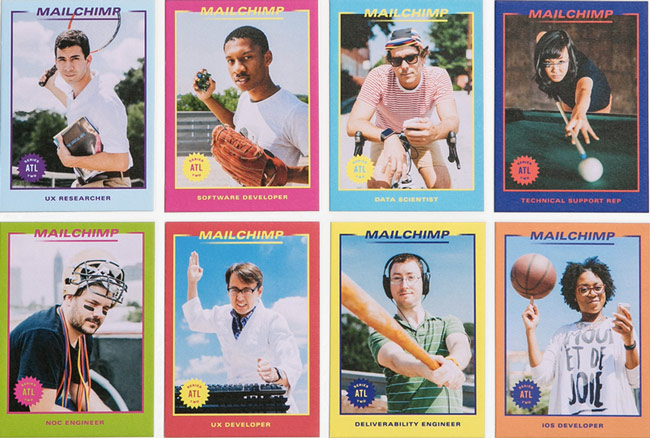 Screenshot of MailChimp's job ad campaign featuring existing employees and their title in the company as baseball cards.