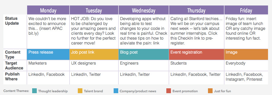 content calendar for employer branding