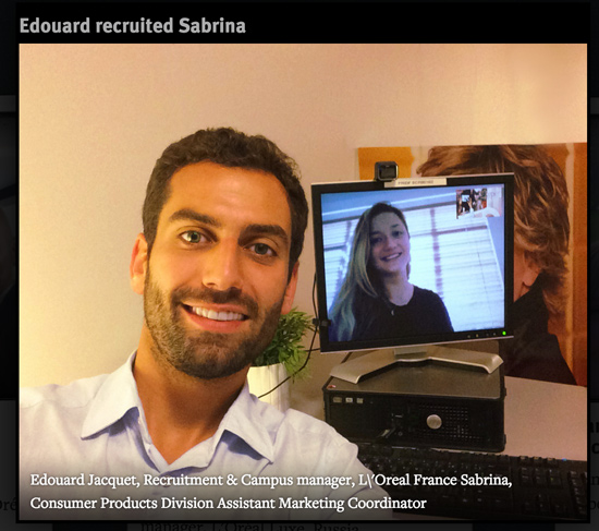 loreal recruiter and candidate selfie