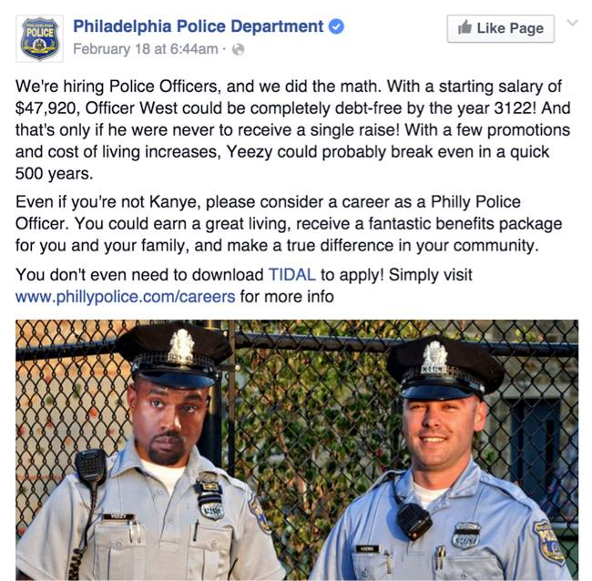 philadelphia police job ad
