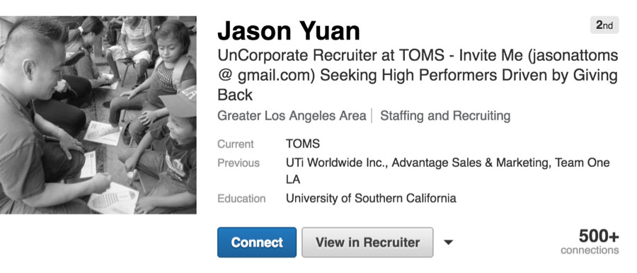 linkedin recruiter headline