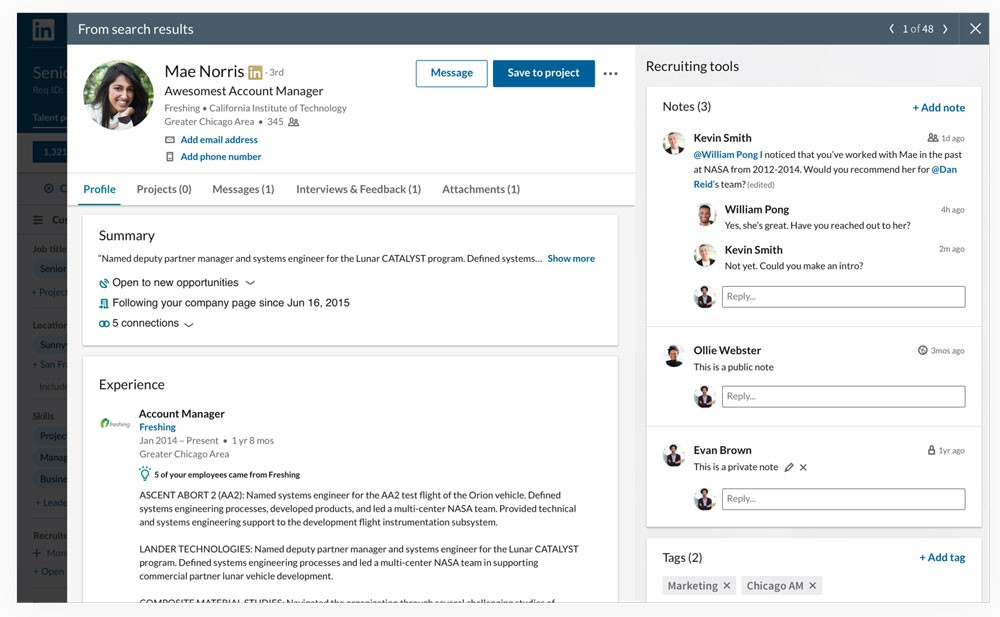 Screenshot of slide-in profile view of a candidate in Recruiter