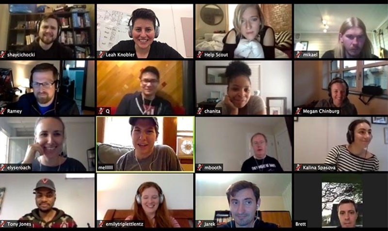 Screenshot of remote, virtual meeting with 16 attendees