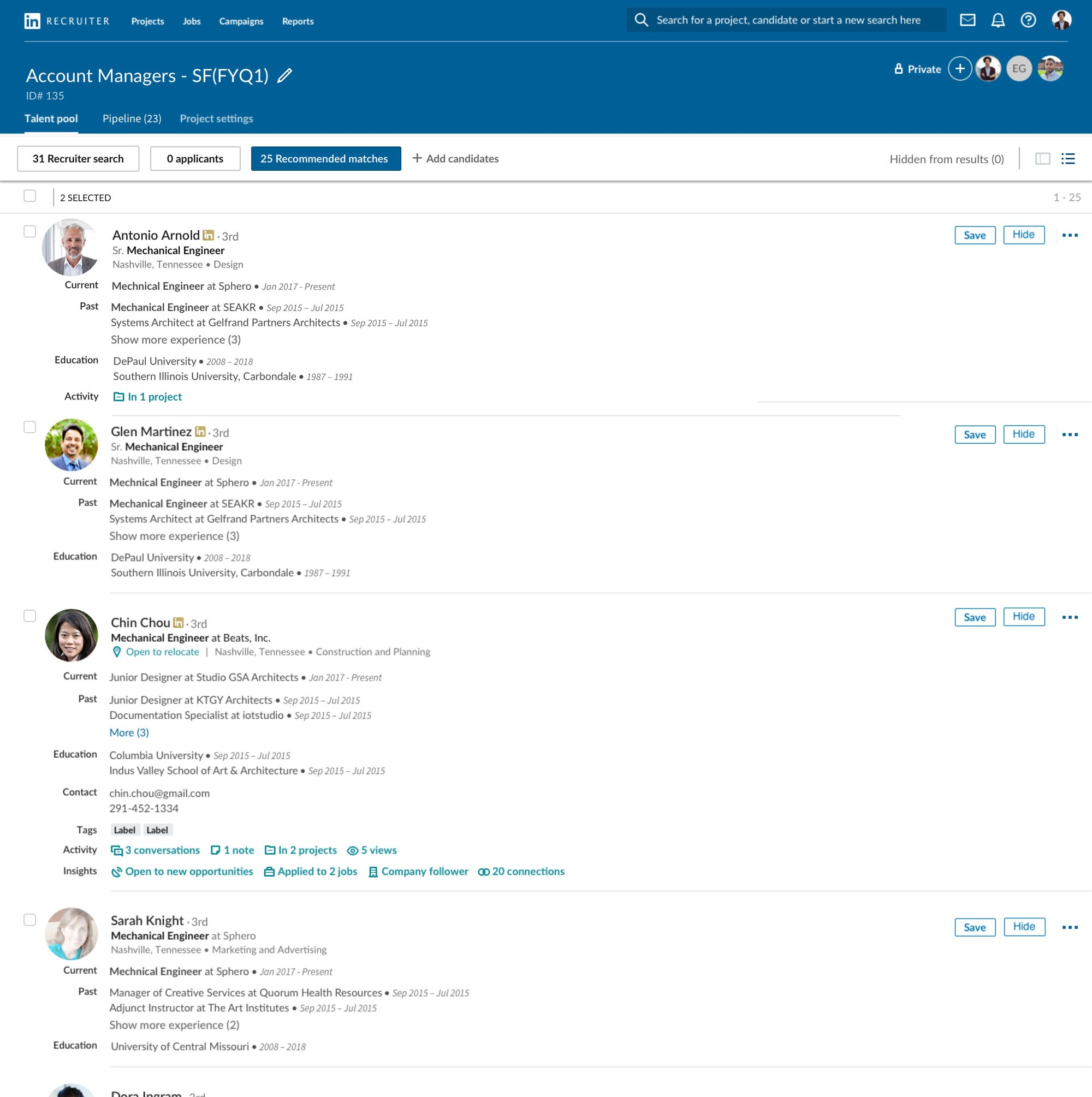 "Screenshot of ""Recommended Matches"" for Account Manager candidates in Recruiter"