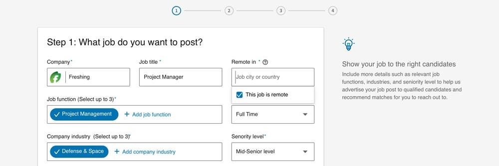 "Screenshot from New Recruiter & Jobs showing how you can select ""remote"" for job location"