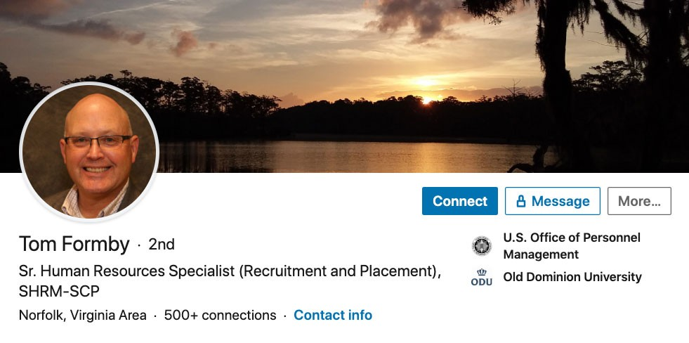 Screenshot of Tom Formby's LinkedIn profile picture. Tom is the only person in the photo.
