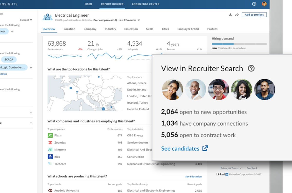 Screenshot from LinkedIn Talent Insights showing how it will be integrated with Recruiter's search function