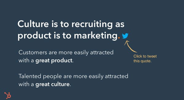 Screenshot of slide from presentation about HubSpot's Culture Code. Slide reads:  Culture is to recruiting as product is to marketing.  Customers are more easily attracted with a great product.  Talented people are more easily attracted with a great culture.