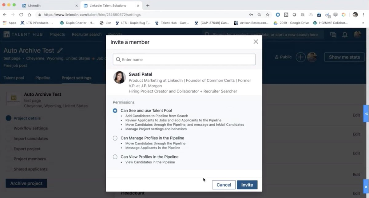 Screenshot from product demo of LinkedIn Talent Hub. Portrays feature that allows users to invite team members to recruiting project. Invite options include:  - Can see and use Talent Pool - Can manage profiles in the pipeline - Can view profiles in the pipeline