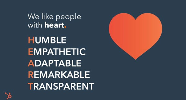 Screenshot of slide from presentation about HubSpot's Culture Code. Slide reads:  We like people with heart.  Humble Empathetic Adaptable Remarkable Transparent