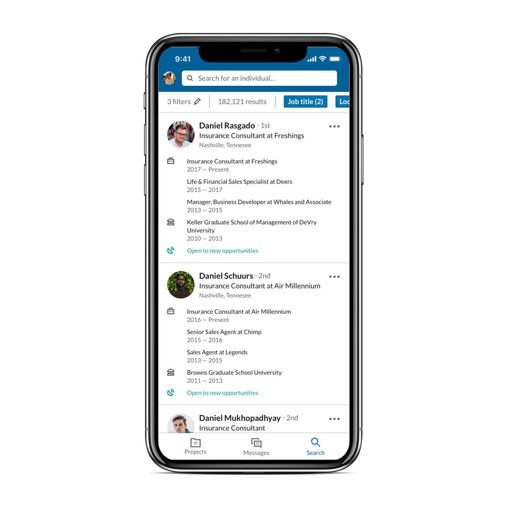 Screenshot of updated LinkedIn Recruiter mobile app