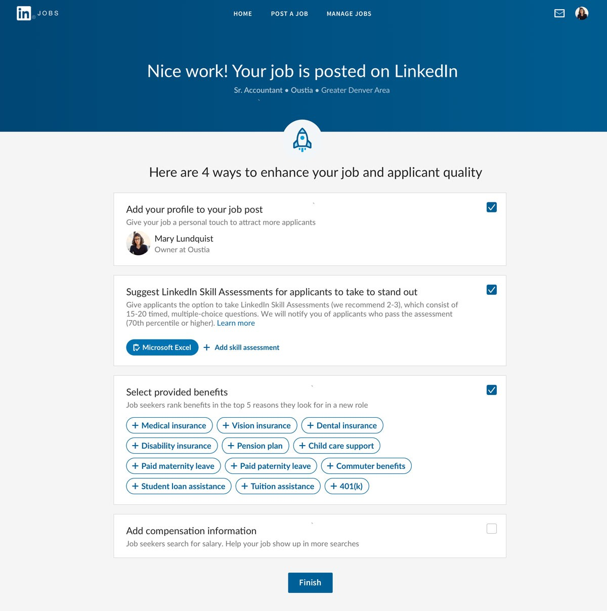 Screenshot demonstrating successful addition of Skill Assessment to a job posting