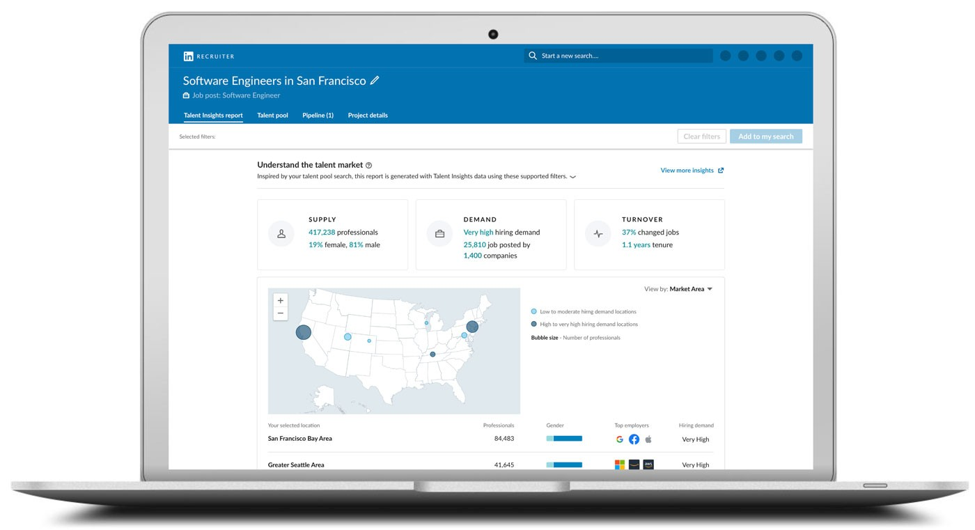 Screenshot of LinkedIn Talent Insights' integration into the new LinkedIn Recruiter & Jobs experience.