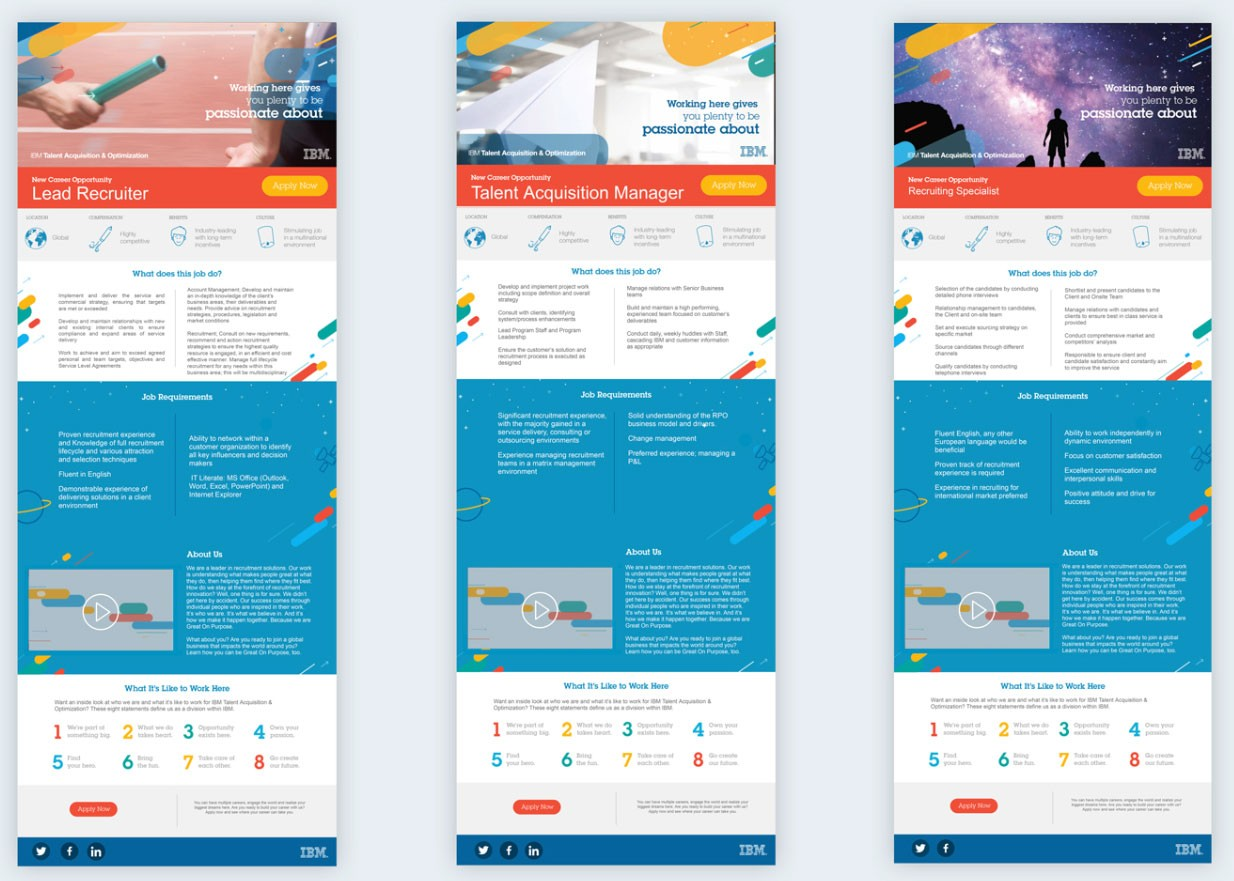 Screenshot of 3 IBM job descriptions in infographic form, including Lead Recruiter, Talent Acquisition Manager, and Recruiting Specialist. Infographics include images, illustrations, videos, text, and lots of color.