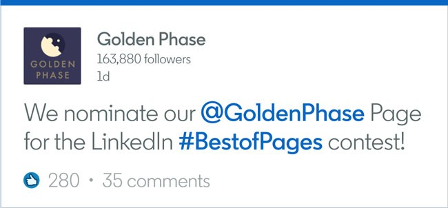 "Screenshot of how to nominate a Company Page as a company: Golden Phase writes ""We nominate our @GoldenPhase Page for the LinkedIn #BestofPages contest!"""