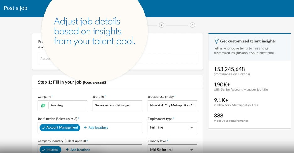 Screenshot of Talent Hub feature that allows recruiters and their teams to evaluate the size and scope of talent pool as they post a job. Filters that help narrow the talent pool in this example include job title, location, employment type (full-time, part-time), industry, and seniority level.