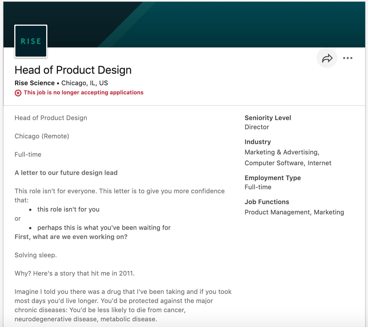 Screenshot of portion of Rise Science's job description for Head of Product Design role.