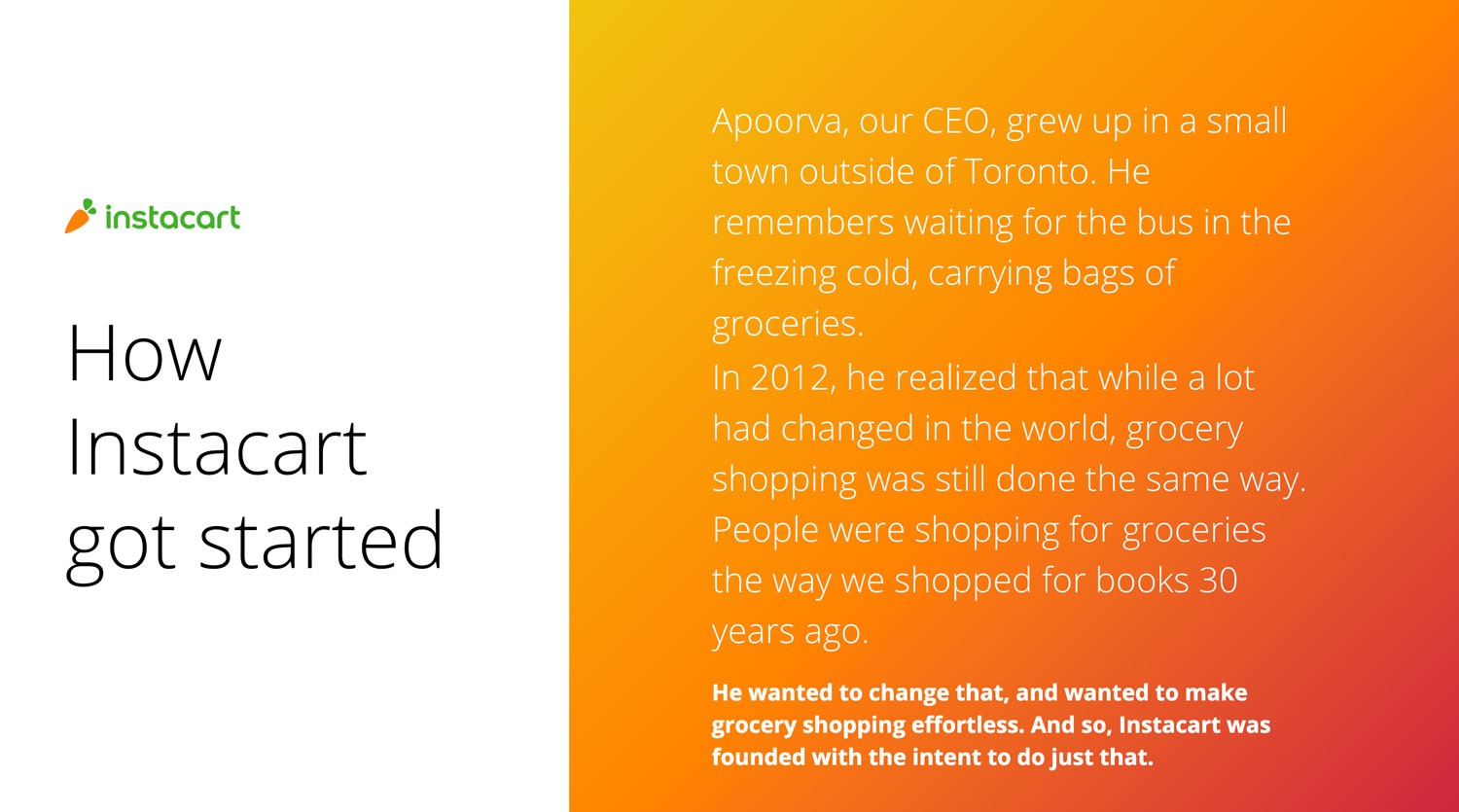 Screenshot from Marta and Colleen's presentation deck:  Title: How Instacart got started  Apoorva, our CEO, grew up in a small town outside of Toronto. He remembers waiting for the bus in the freezing cold, carrying bags of groceries. In 2012, he realized that while a lot had changed in the world, grocery shopping was still done the same way. People were shopping for groceries the way we shopped for books 30 years ago. He wanted to change that, and wanted to make grocery shopping effortless. And so, Instacart was founded with the intent to do just that.