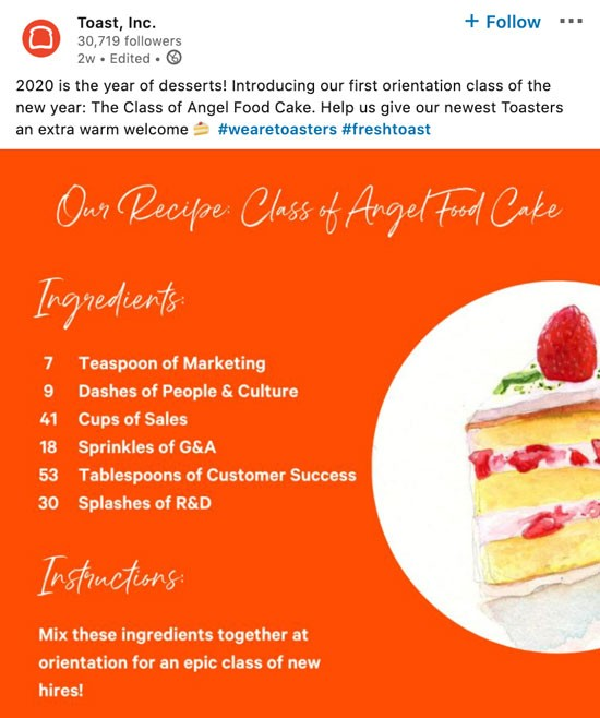 Screenshot of posting on Toast's LinkedIn company page:  Social copy: 2020 is the year of desserts! Introducing our first orientation class of the new year: The Class of Angel Food Cake. Help us give our Toasters an extra warm welcome. #wearetoasters #freshtoast  Our Recipe Class of Angel Food Cake  Ingredients: 7 teaspoons of marketing 9 dashes of people and culture 41 cups of sales 18 sprinkles of G&A 53 tablespoons of customer success 30 splashes of R&D  Instructions: Mix these ingredients together at orientation for an epic class of new hires!