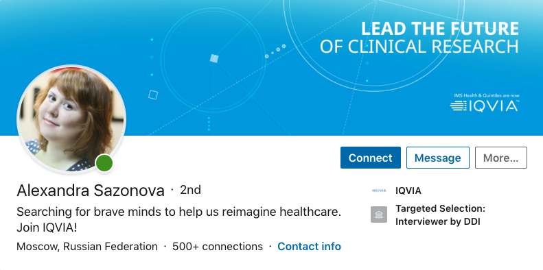 "Alexandra Sazonova (Moscow, Russia)  ""Searching for brave minds to help us reimagine healthcare. Join IQVIA!"""