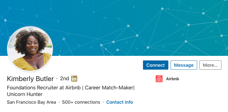 "Kimberley Butler (San Francisco Bay Area)  ""Foundations Recruiter at AirBnb 