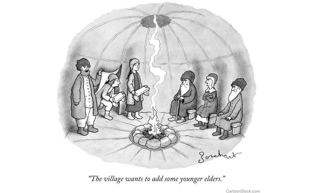 """Comic of older group of people and younger group of people in a tent around a log fire. Caption reads: """"The village wants to add some younger elders."""""""