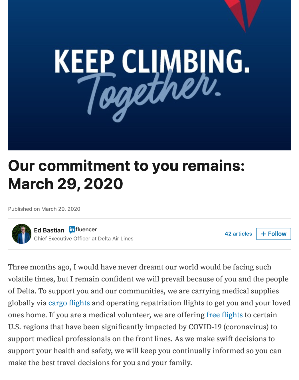 Screenshot of LinkedIn article from Ed Bastian, CEO of Delta Air Lines, published March 29, 2020