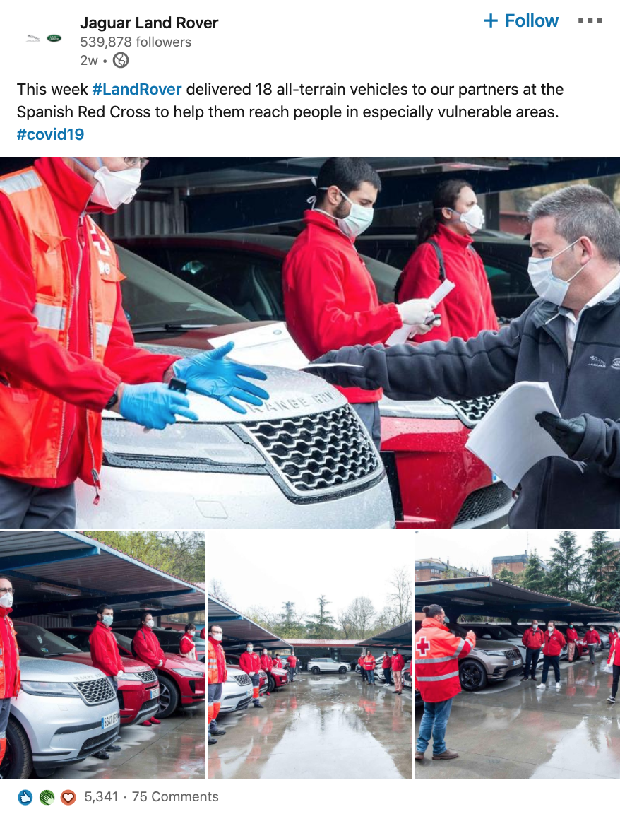 Screenshot of Jaguar Land Rover LinkedIn post:  This week #LandRover delivered 18 all-terrain vehicles to our partners at the Spanish Red Cross to help them reach people in especially vulnerable areas. #covid19