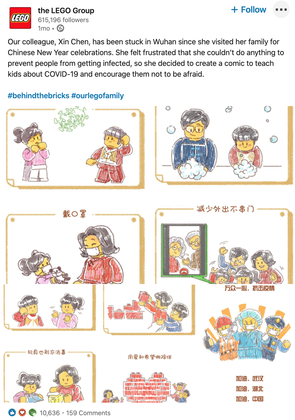 Screenshot of post from The Lego Group's LinkedIn company page:  Our colleague, Xin Chen, has been stuck in Wuhan since she visited her family for Chinese New Year celebrations. She felt frustrated that she couldn't do anything to prevent people from getting infected, so she decided to create a comic to teach kids about COVID-19 and encourage them not to be afraid.  #behindthebricks #ourlegofamily  [[includes photos of the comic featuring LEGO figurines]]