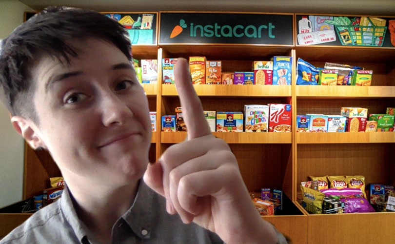 Screenshot of Instacart employee doing a video interview with a photo of company's snack wall