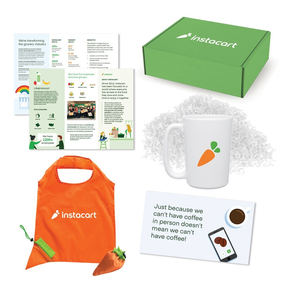 Image of care package components sent to remote candidates before an interview with Instacart, including a digital brochure, branded mug, tote bag, and coffee voucher.