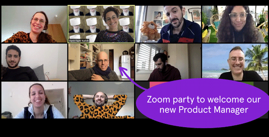 Screenshot of Soluto employees welcoming a new Product Manager over a virtual Zoom party.