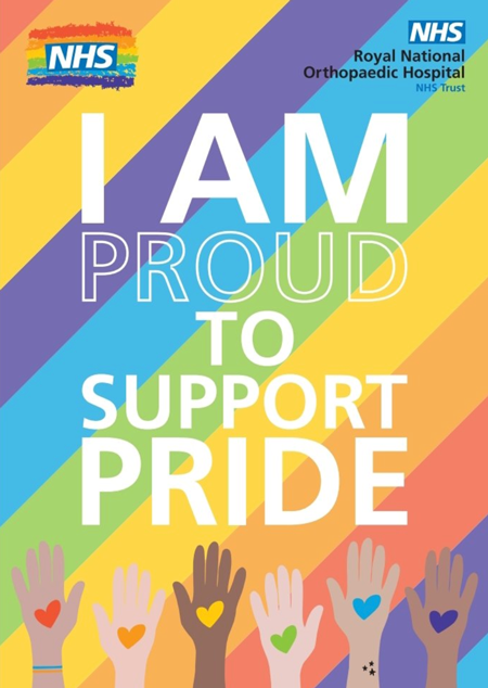 "Screenshot of NHS poster supporting Pride Month. Poster reads: ""I am proud to support Pride"""
