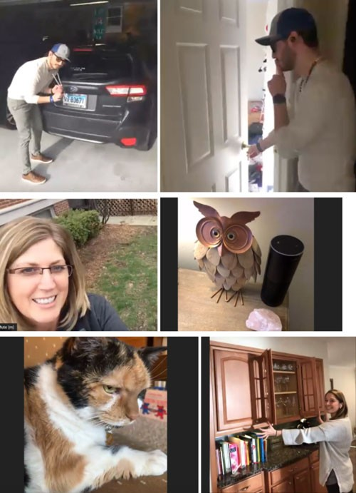 Collection of screenshots of IMPACT employees giving a virtual tour of their homes