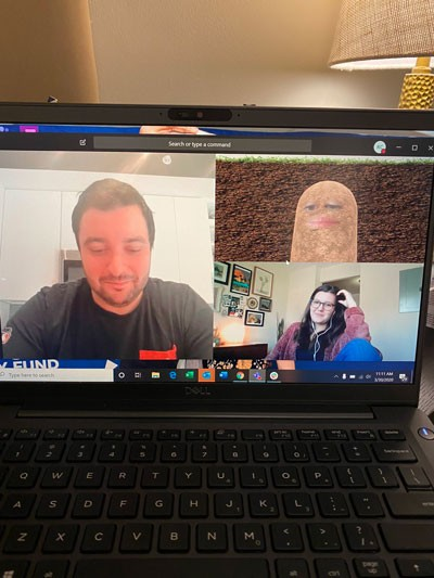 Screenshot of three people on video call, including one woman who has turned herself into an animated potato