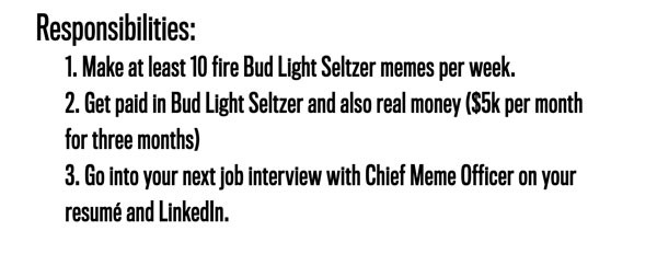 Responsibilities: 1. Make at least 10 fire Bud Light Seltzer memes per week. 2. Get paid in Bud Light Seltzer and also real money ($5k per month for three months) 3. Go into your next job interview with Chief Meme Officer on your resumé and LinkedIn.