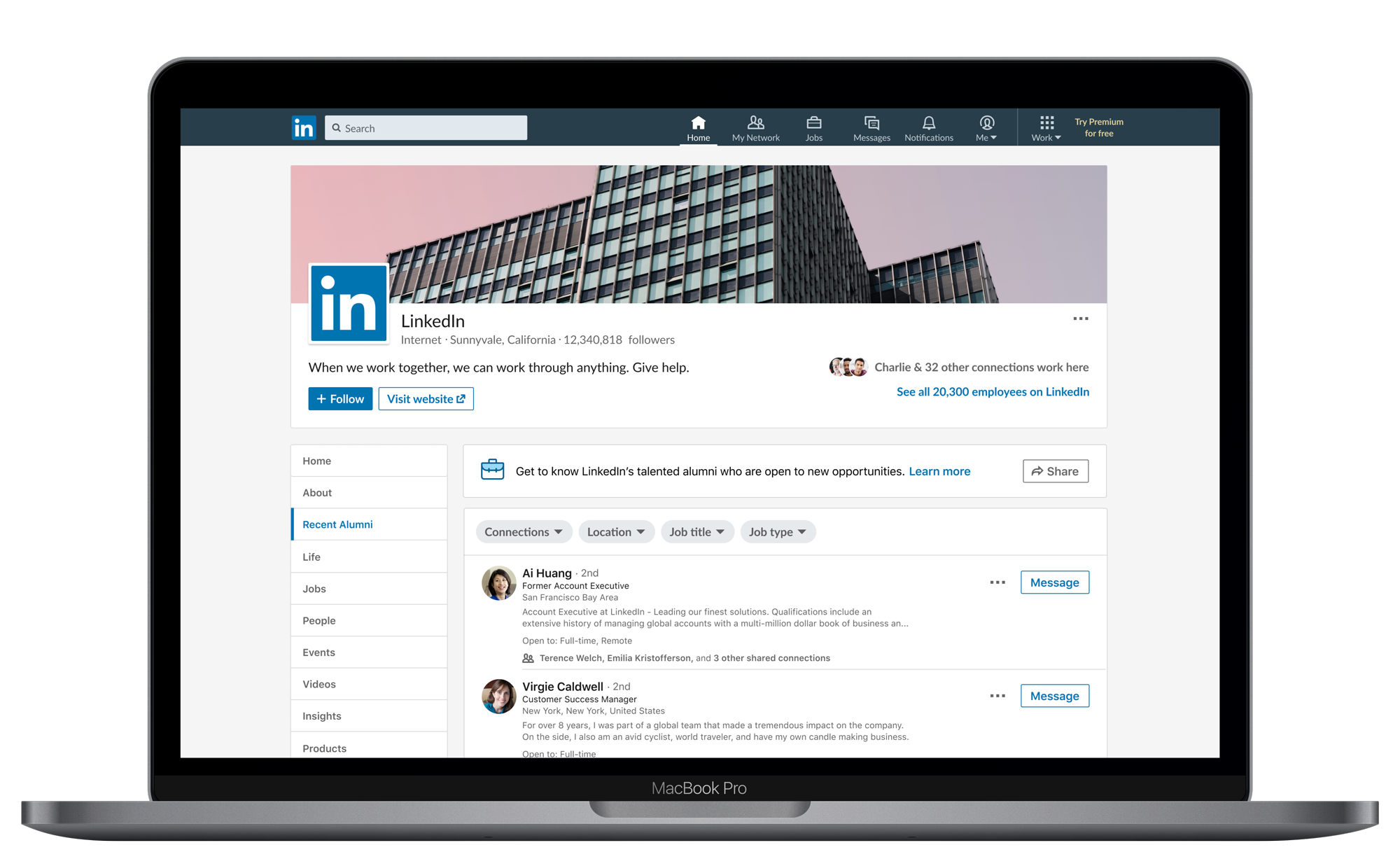 List of LinkedIn alumni on LinkedIn company page