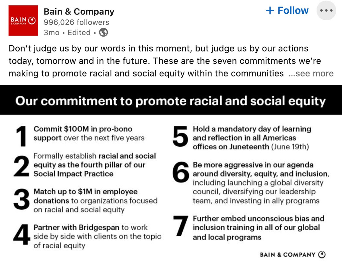 Don't judge us by our words in this moment, but judge us by our actions today, tomorrow and in the future. These are the seven commitments we're making to promote racial and social equity within the communities where we live and work.