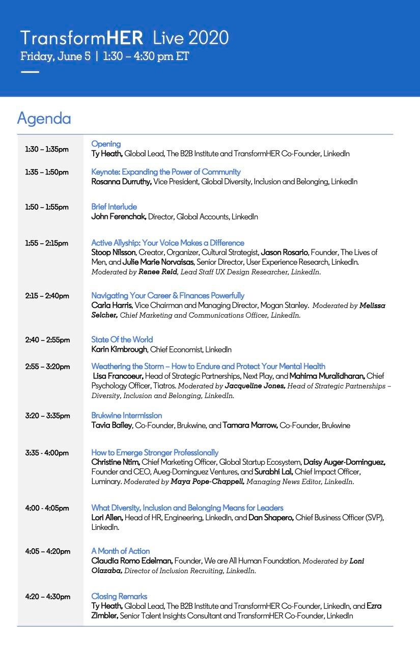 Screenshot of TransformHER Live 2020 agenda