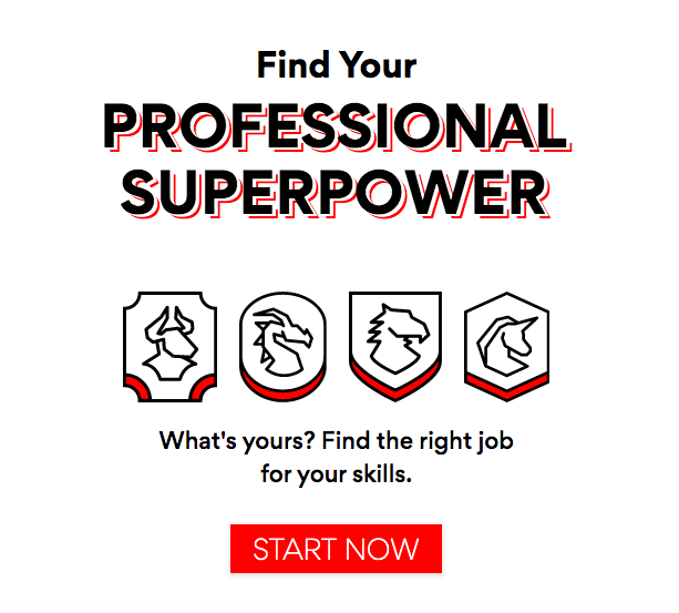 Screenshot from EQRx careers site:  Find your professional superpower  What's yours? Find the right job for your skills.