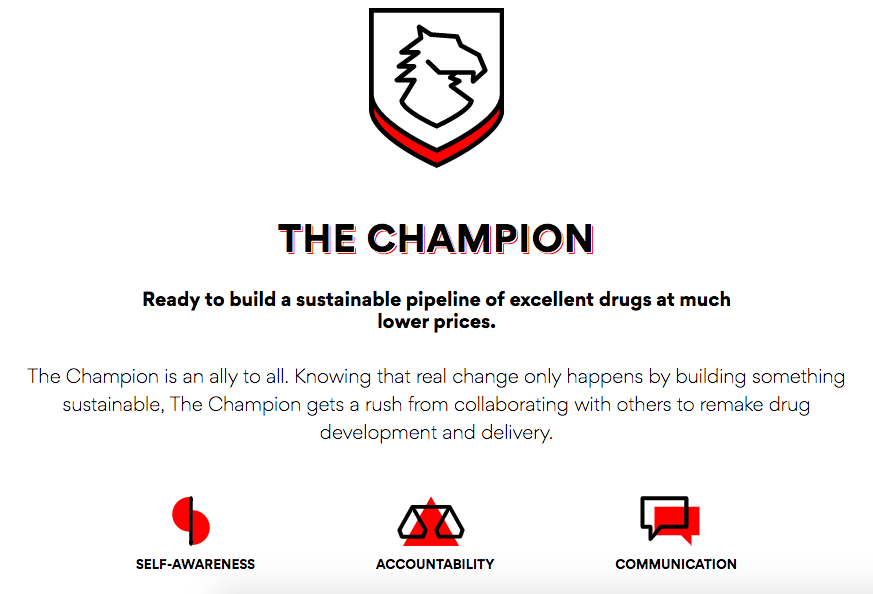 Screenshot of EQRx Superpower Quiz results with image of a badge with a mythical looking creature on it:  The Champion Ready to build sustainable pipeline of excellent drugs at much lower prices. The Champion is an ally to all. Know that real change only happens by building something sustainable, The Champion gets a rush from collaborating with others to remake drug development and delivery.  Key characteristics: Self-awareness, accountability, communication