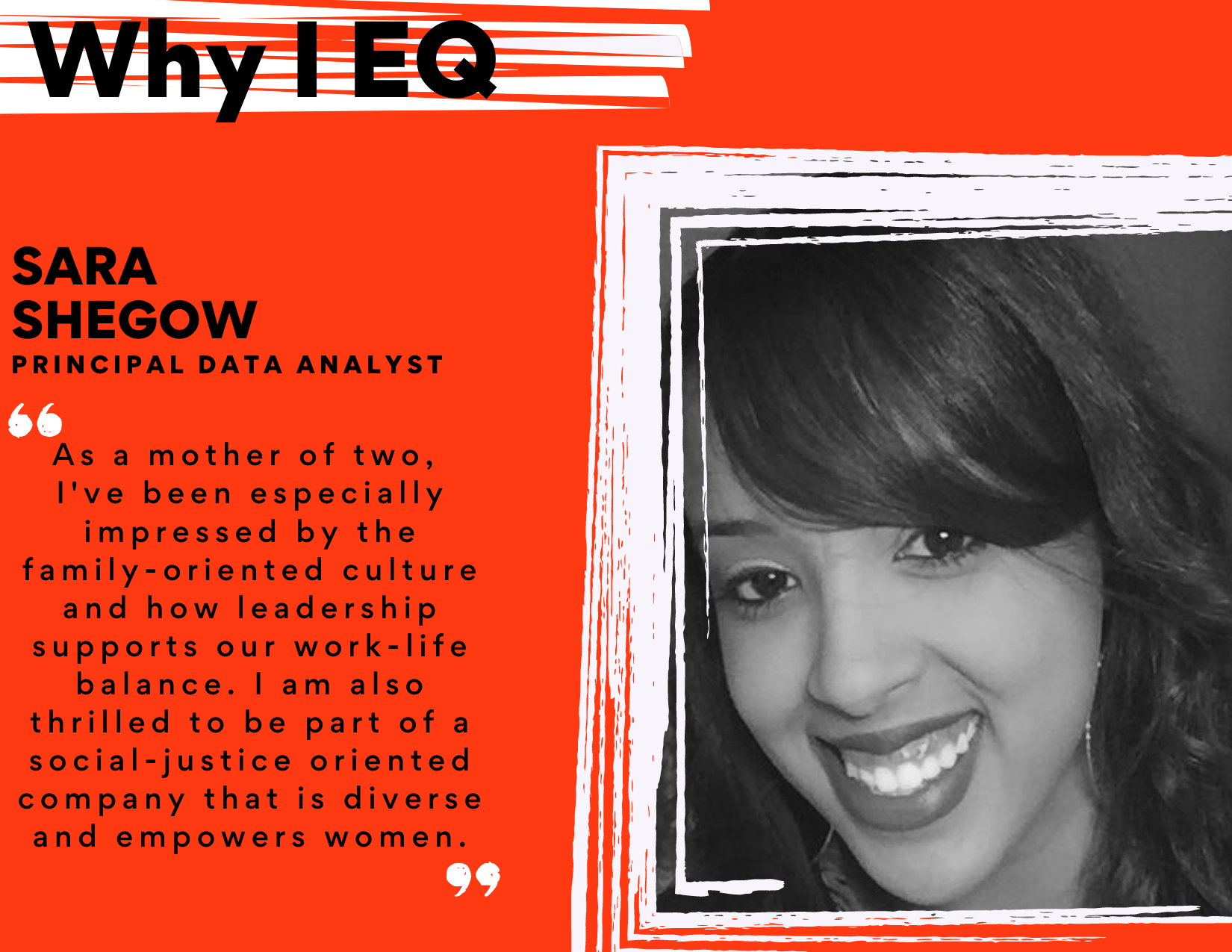 """Image of Sara Shegow, Principal Data Analyst at EQRx. Quote: """"As a mother of two, I've been especially impressed by the family-oriented culture and how leadership supports our work-life balance. I am also thrilled to be part of a social-justice oriented company that is diverse and empowers women."""""""