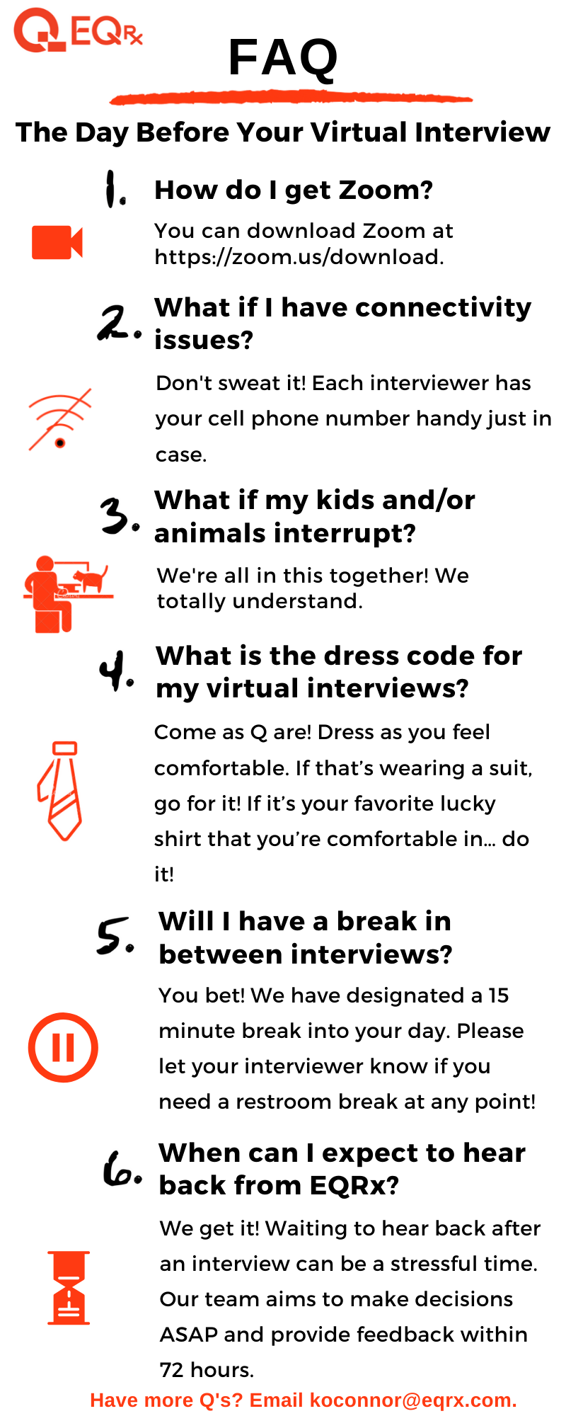 """List of Frequently Asked Questions for """"The Day Before Your Virtual Interview"""" at EQRx."""