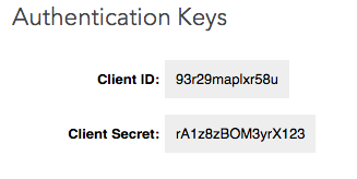 API Key and Secret Key example