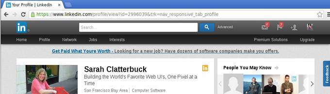 Viewing my profile with cursor in location bar.