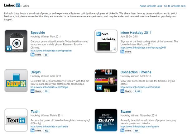 A few of the hacks on LinkedIn Labs