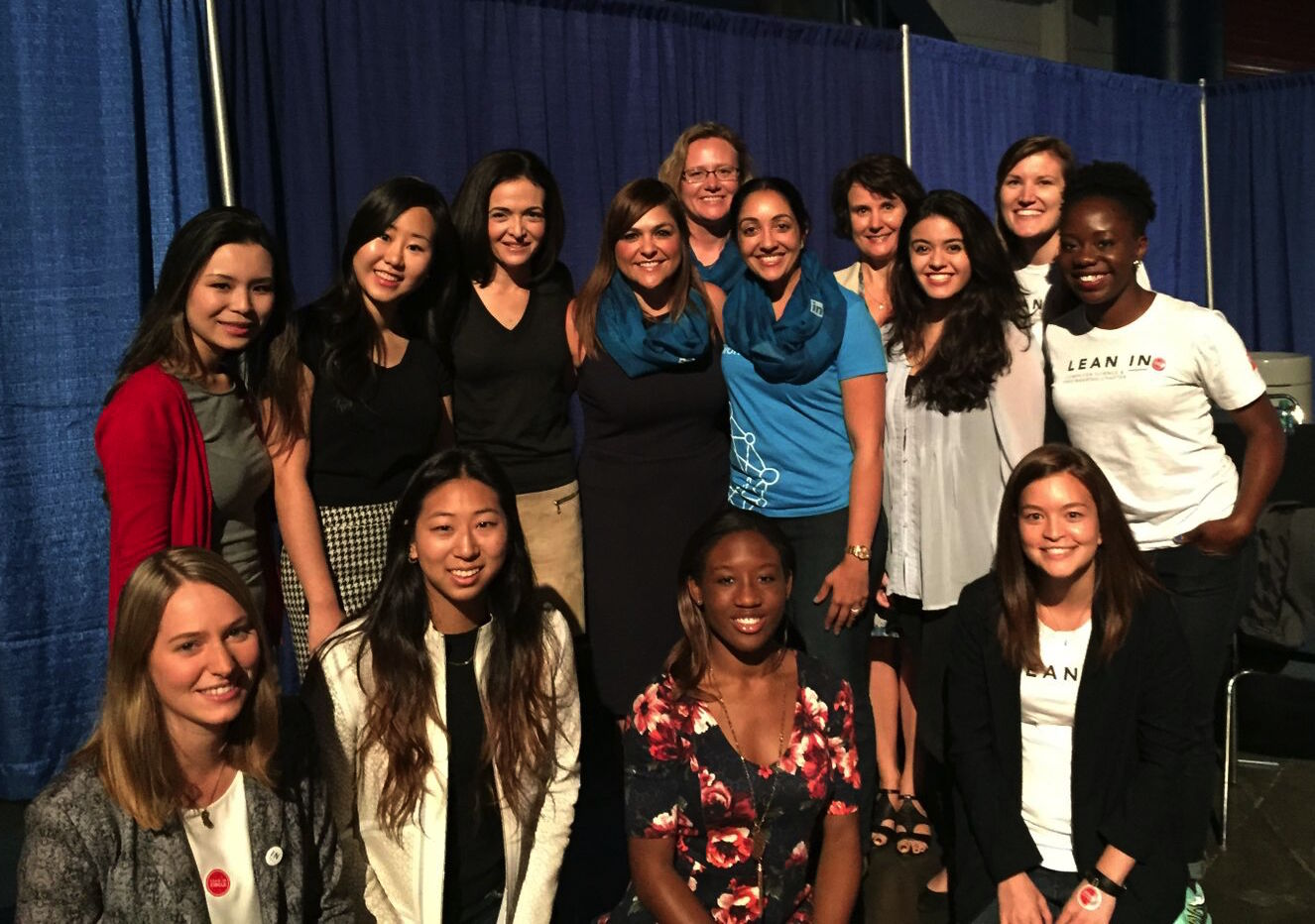 Tessa backstage with Sheryl Sandberg and CS&E Chapter Leaders at Grace Hopper Celebration for Women in Computing 2015