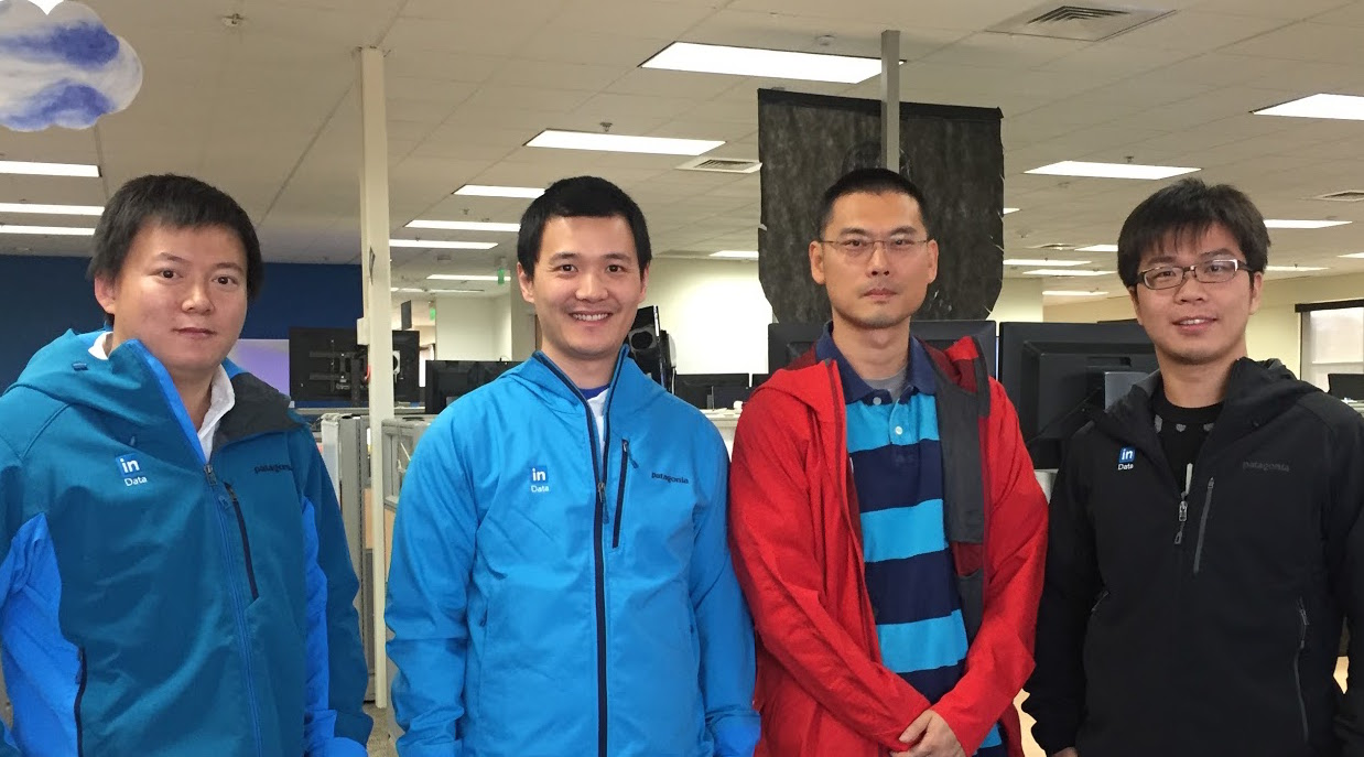 The WhereHows team from left to right, Jianyong Bai, Zhen Chen, Eric Sun, and Zhaonan Sun